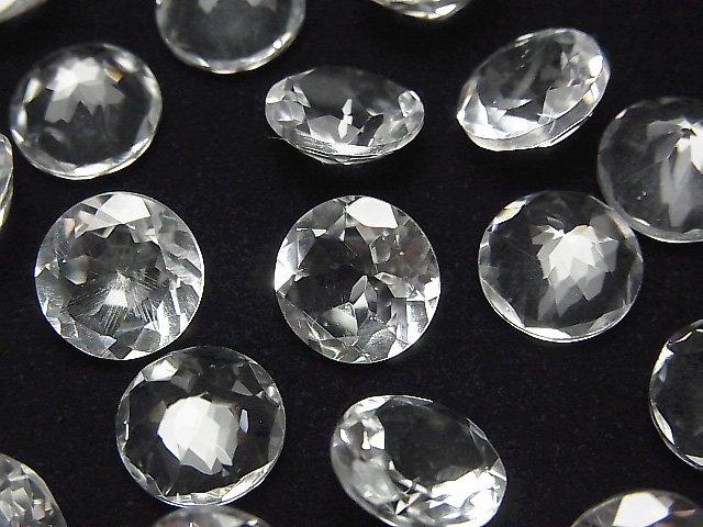 宝石質クリスタルAAA 穴なしラウンドファセットカット10×10mm 5粒