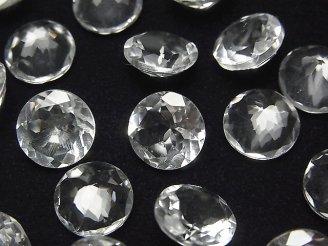 天然石卸 粒売り!宝石質クリスタルAAA 穴なしラウンド ファセットカット10×10×6mm 5粒980円!