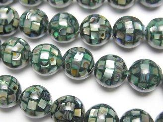 天然石卸 モザイクシェル(鮑) ブラック ラウンド10mm 1/4連〜1連(約35cm)
