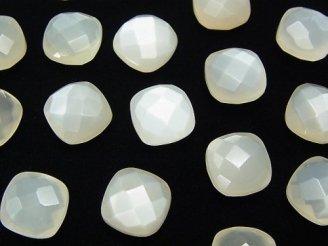 天然石卸 宝石質ホワイトムーンストーンAAA 穴なしスクエアクッションカット10×10×5mm 3粒1,280円!