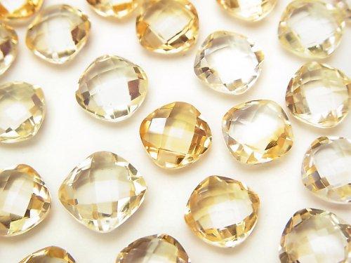 宝石質シトリンAAA 穴なしスクエアクッションカット8×8×4mm 5粒