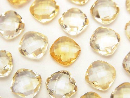 宝石質シトリンAAA 穴なしスクエアクッションカット9×9×5mm 4粒