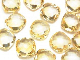 天然石卸 宝石質シトリンAAA 穴なしスクエアクッションカット10×10×5mm 4粒980円!