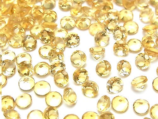 【動画】宝石質シトリンAAA 穴なしラウンドファセットカット4×4×2.5mm 10粒
