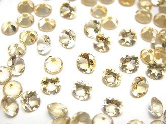 天然石卸 宝石質シトリンAAA 穴なしラウンドファセットカット5×5×3mm 10粒580円!