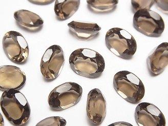 天然石卸 宝石質スモーキークォーツAAA 穴なしオーバルファセットカット9×7mm 10粒1,180円!