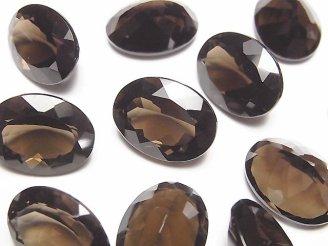 天然石卸 宝石質スモーキークォーツAAA 穴なしオーバルファセットカット16×12mm 5粒2,280円!
