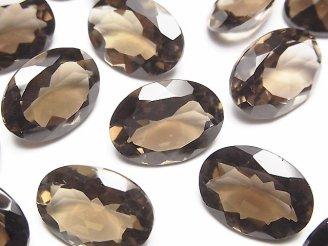 天然石卸 宝石質スモーキークォーツAAA 穴なしオーバルファセットカット18×13mm 4粒2,380円!