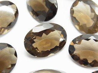 天然石卸 宝石質スモーキークォーツAAA 穴なしオーバルファセットカット20×15mm 4粒2,980円!