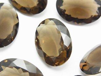 天然石卸 宝石質スモーキークォーツAAA 穴なしオーバルファセットカット22×16mm 3粒2,380円!