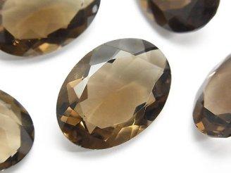 天然石卸 宝石質スモーキークォーツAAA 穴なしオーバルファセットカット25×18mm 2粒1,980円!