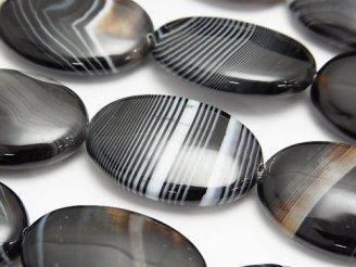天然石卸 ストライプオニキス オーバル30×22×8mm 半連/1連(約35cm)