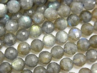 天然石卸 素晴らしい輝き!1連1,480円!ラブラドライトAA++ ミラーラウンドカット6mm 1連(約38cm)