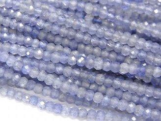 天然石卸 素晴らしい輝き!宝石質タンザナイトAAA 極小ボタンカット2×2×1mm 半連/1連(約40cm)