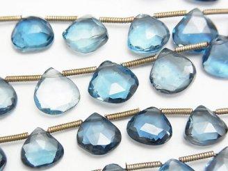 天然石卸 宝石質ロンドンブルートパーズAAA マロン ブリオレットカット 半連/1連(約18cm)