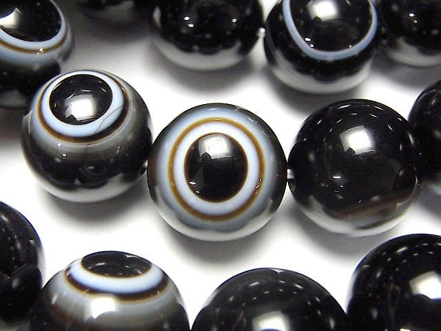 高品質チベットアゲート(天眼石) ラウンド16mm 1連(ブレス)