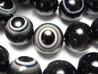 天然石卸 1連3,980円!高品質チベットアゲート(天眼石) ラウンド16mm 1連(ブレス)