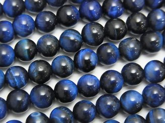 天然石卸 1連580円!ブルーカラータイガーアイAA++ ラウンド6mm 1連(約37cm)