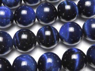 天然石卸 ブルーカラータイガーアイAA++ ラウンド12mm 半連/1連(約36cm)