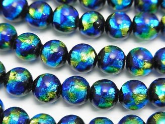 天然石卸 とんぼ玉 ラウンド8mm 【ブルー×イエロー】 1/4連〜1連(約36cm)