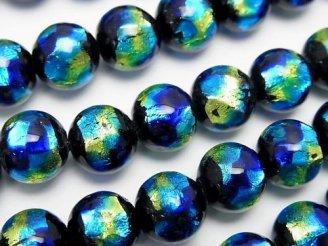 天然石卸 とんぼ玉 ラウンド10mm 【ブルー×イエロー】 1/4連〜1連(約36cm)