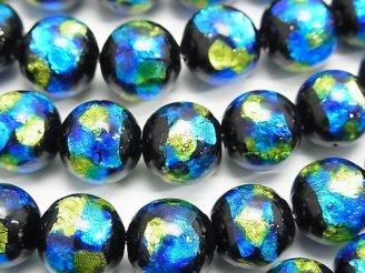 天然石卸 とんぼ玉 ラウンド12mm 【ブルー×イエロー】 1/4連〜1連(約34cm)