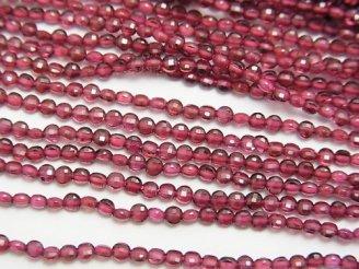 天然石卸 素晴らしい輝き!モザンビーク産ガーネットAAA コインカット2×2×1.5mm 1連(約38cm)