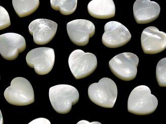 天然石卸 1粒380円!高品質ホワイトシェル(白蝶貝) ハート片穴 10×10×4mm 1粒