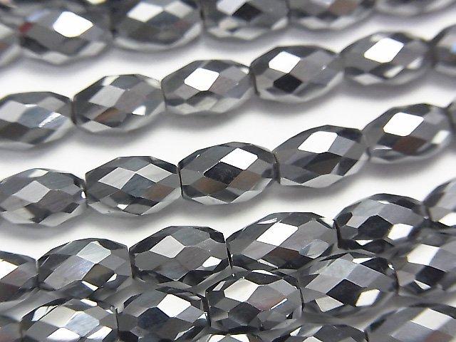 素晴らしい輝き!高純度テラヘルツ鉱石 ライスカット8×5×5mm 半連/1連(約36cm)
