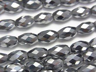 天然石卸 素晴らしい輝き!高純度テラヘルツ鉱石 ライスカット8×5×5mm 半連/1連(約36cm)