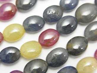 天然石卸 宝石質マルチカラーサファイアAA++ オーバル 【Lサイズ】 半連/1連(約18cm)