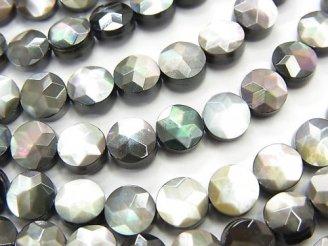 天然石卸 高品質ブラックシェル(黒蝶貝) コインカット(スター模様)6×6×3mm 半連/1連(約38cm)