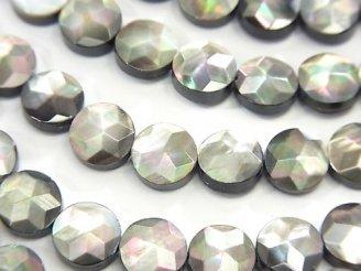 天然石卸 高品質ブラックシェル(黒蝶貝) コインカット(スター模様)8×8×3mm 半連/1連(約38cm)