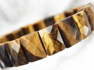 天然石卸 1連1,180円!イエロータイガーアイAAA- 2つ穴レクタングルカット12×8×6mm 1連(ブレス)