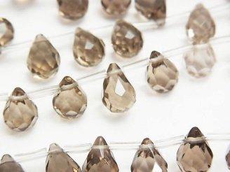 天然石卸 ライトカラースモーキークォーツAAA ドロップ ブリオレットカット10×7×7mm 1/4連〜1連(約38cm)
