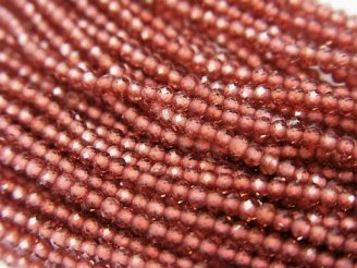 天然石卸 極小!1連1,980円!宝石質ガーネットAAA ボタンカット1.8×1.8×1.2mm 1連(約32cm)
