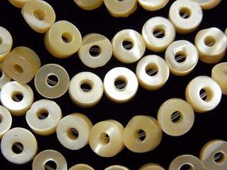 天然石卸 1連880円!マザーオブパール ベージュ コイン(ドーナツ)6×6×2.5mm 1連(約37cm)
