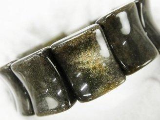 天然石卸 ゴールデンシャインオブシディアンAAA 2つ穴レクタングル20×16×8mm 1連(ブレス)