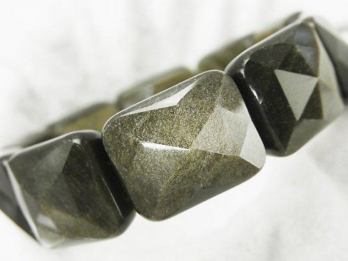 ゴールデンシャインオブシディアンAAA 2つ穴レクタングルカット17×20×9mm 1連(ブレス)