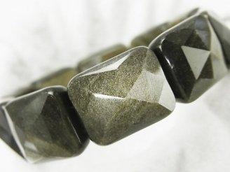 天然石卸 ゴールデンシャインオブシディアンAAA 2つ穴レクタングルカット17×20×9mm 1連(ブレス)