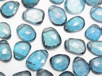 天然石卸 宝石質ロンドンブルートパーズAAA 横穴フリーフォーム ローズカット 4粒