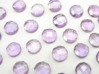 天然石卸 宝石質ピンクアメジストAAA ラウンド型カボションカット6×6mm 10粒580円!