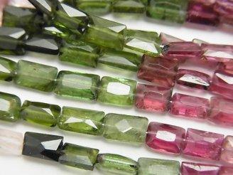 天然石卸 1連7,980円!宝石質マルチカラートルマリンAA++ レクタングルカット 1連(ネックレス)