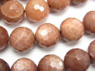 天然石卸 ブラウンムーンストーンAA+ 128面ラウンドカット14mm 1/4連〜1連(約36cm)