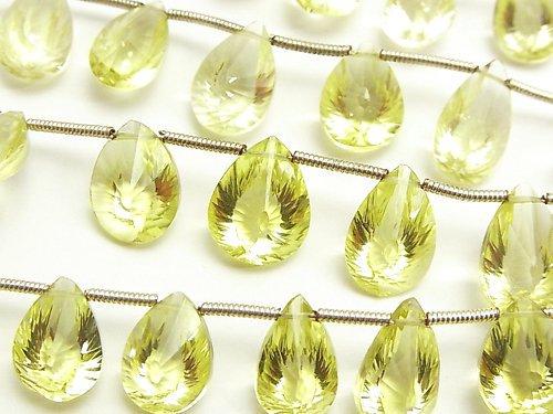 宝石質レモンクォーツAAA ペアシェイプ コンケーブカット 半連/1連(約16cm)