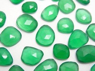 天然石卸 宝石質グリーンオニキスAAA 穴なし フリーフォーム ローズカット 5粒