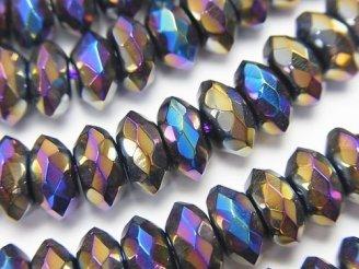 天然石卸 フラッシュ・オニキス ボタンカット8×8×4mm 半連/1連(約38cm)