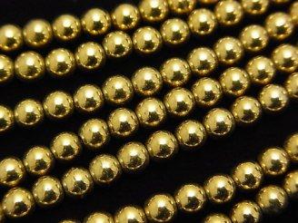 天然石卸 1連380円!ヘマタイト ラウンド4mm ゴールドコーティング 1連(約37cm)