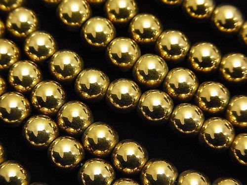 ヘマタイト ラウンド6mm ゴールドコーティング 1連(約38cm)