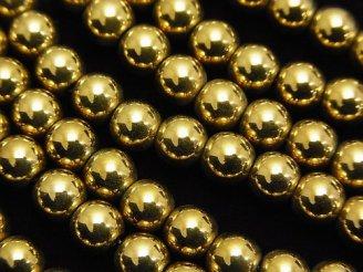 天然石卸 1連380円!ヘマタイト ラウンド6mm ゴールドコーティング 1連(約38cm)